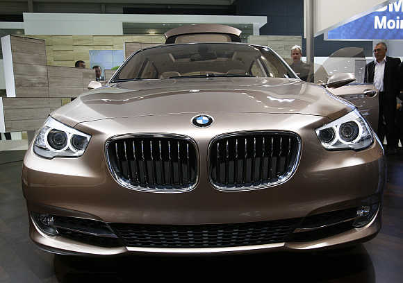 BMW 5 Series Gran Turismo is displayed at the Geneva Car Show in Switzerland.