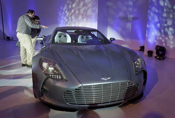 Aston Martin One-77 is displayed in Mumbai.