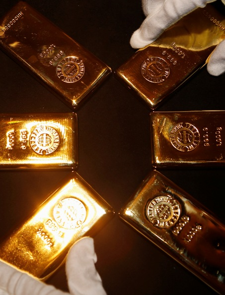 Gold bars are displayed at the Ginza Tanaka store in Tokyo.