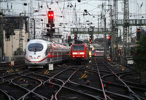 Trains during a strike of German railway operators Deutsche Bahn in Cologne.