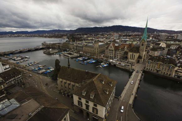 A general view shows the city of Zurich with the Fraumuenster church (R) and the lake Zurich (L).