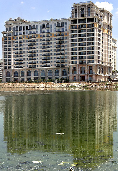 A general view of the under-construction India's Hotel Leela, facing the backwaters of Bay of Bengal.