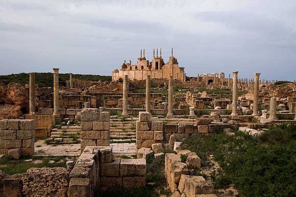 A view of Leptis Magna, a Unesco World Heritage site on the Mediterranean coast of North Africa, some 120km east of Tripoli in Libya.