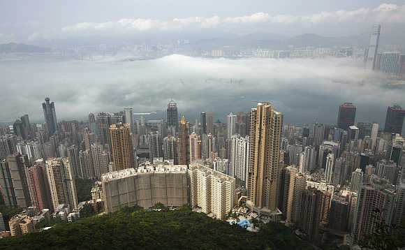 An aerial view of Hong Kong's cityscape.