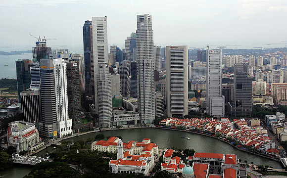 A view of Singapore's central business district.