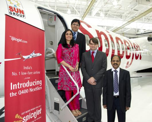 SpiceJet's Board member Kavery Kalanithi on the left, chairman Kalanithi Maran behind her, CEO Neil Mills in the middle and COO Sivasubramanian Natrajhen on the right.