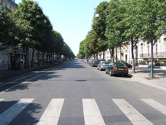 A view of Avenue Montaigne in Paris, France.