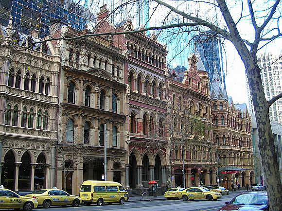 A view of Collins Street in Melbourne, Australia.
