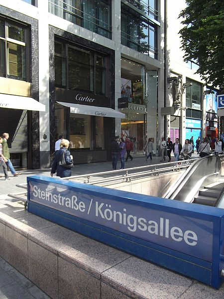 A view of Konigsallee in Dusseldorf, Germany.