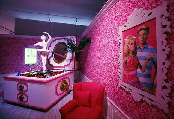 A room is pictured inside a Barbie Dreamhouse of Mattel's Barbie dolls in Berlin.