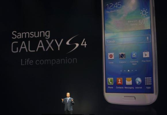 JK Shin, President and head of IT and Mobile Communication Division, introduces Samsung Electronics Co's Galaxy S4 phone during its launch.