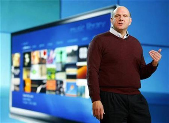 Microsoft CEO Steve Ballmer addresses the annual Consumer Electronics Show (CES) in Las Vegas, January 7, 2009.