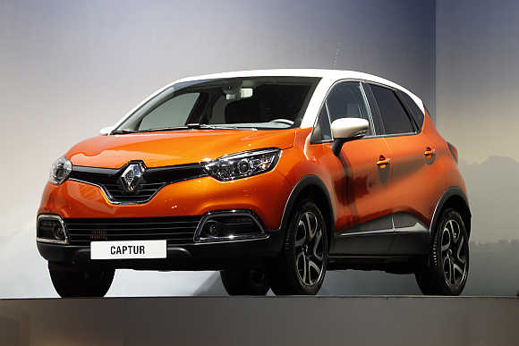 A Renault Captur car is displayed in Paris.