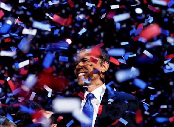 U.S. President Barack Obama celebrates on stage as confetti falls after his victory speech during his election rally in Chicago, November 6, 2012.