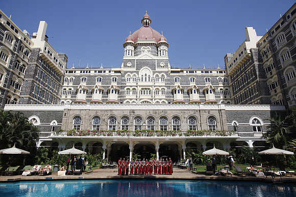A view of  Taj Mahal hotel in Mumbai.