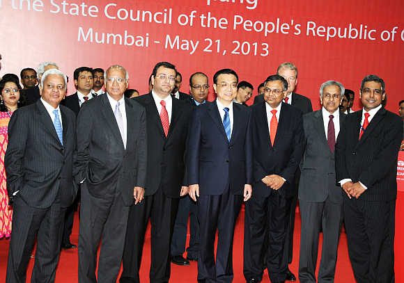 Chinese Premier Li Keqiang, centre, with senior officials, including Tata Group Chairman Cyrus P Mistry, third from left.