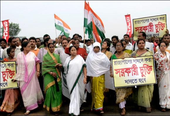 Mamata Banerjee marches with party activists during a protest rally against Tata at Singur.