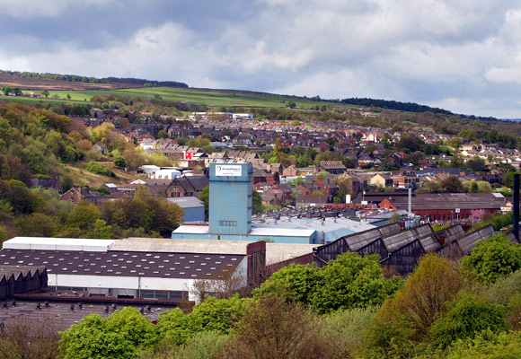 The Corus steelworks, at Stocksbridge, near Sheffield in Yorkshire.