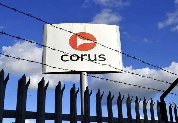 A Corus steel company logo is seen on the outskirts of Llanelli in Wales.