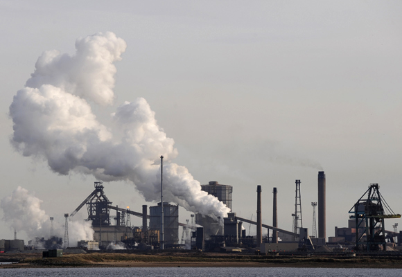 The Corus steelworks is seen in Redcar, northern England.