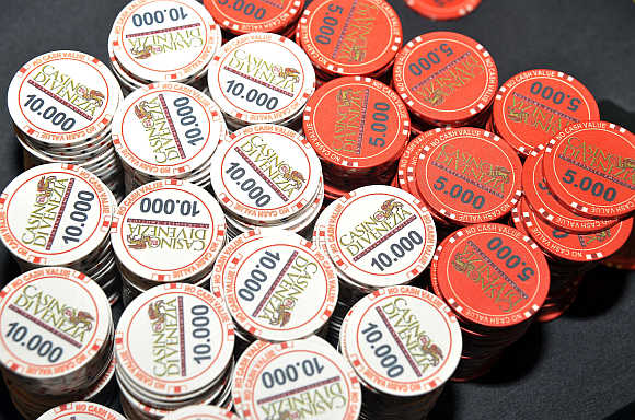 Chips are seen on the table after the World Poker Tour Venice event at the Casino di Venezia in Venice, Italy.