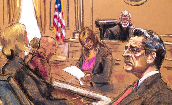 Rajat Gupta seen in this courtroom sketch as verdict is read in his insider trading case in Manhattan Federal Court in New.