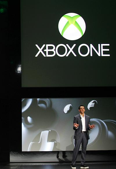 Yusuf Mehdi, senior vice president of Microsoft's Interactive Entertainment Business, discusses the Xbox One during a press event.