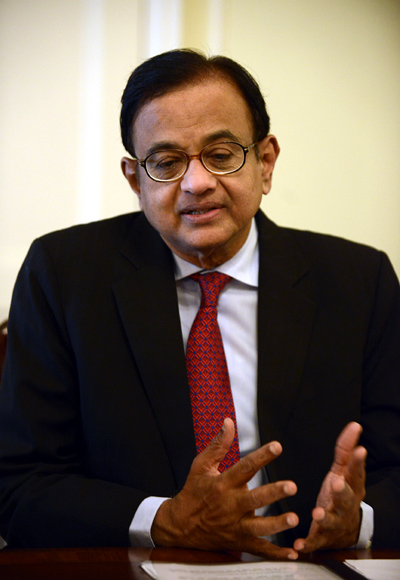 Palaniappan Chidambaram speaks during a news conference in New York.