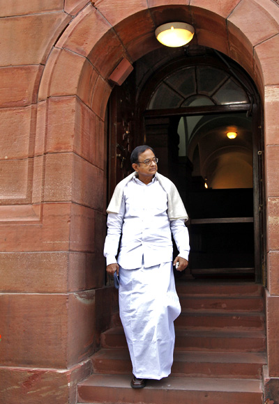 P Chidambaram comes out of the parliament after attending the first day of the budget session in New Delhi.