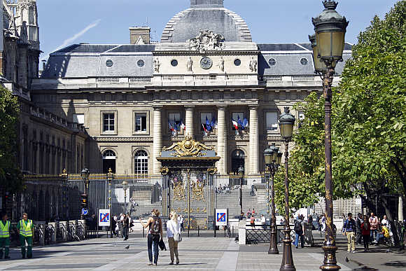 A view of the Justice Hall in Paris, France.