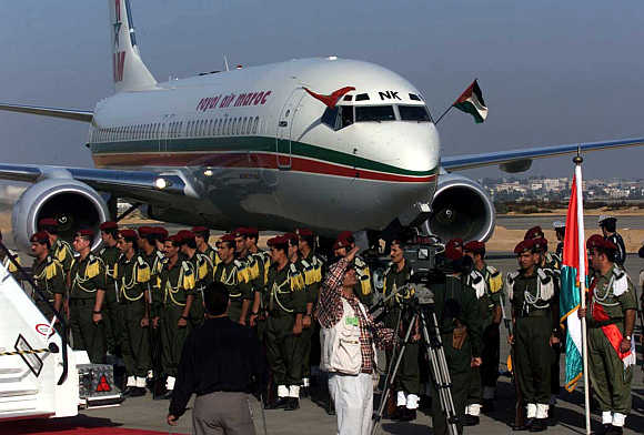 A Royal Air Maroc jetliner lands at Gaza International Airport in Palestine.