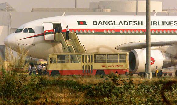 Biman Bangladesh Airlines flight at New Delhi's International Airport.