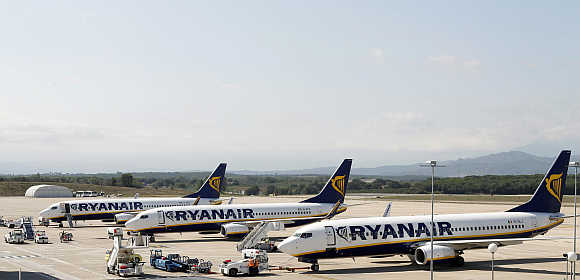Ryanair planes parked at Girona Airport in Spain.