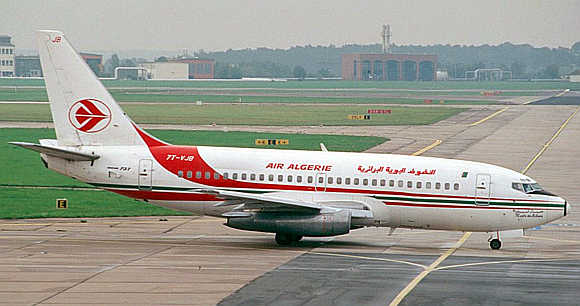 Air Algerie Boeing 737-200 passenger plane at Berlin's Schoenefeld airport in Germany.