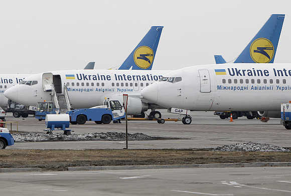 Planes of Ukrainian International Airlines at Borispol Airport, near Kiev, Ukraine.