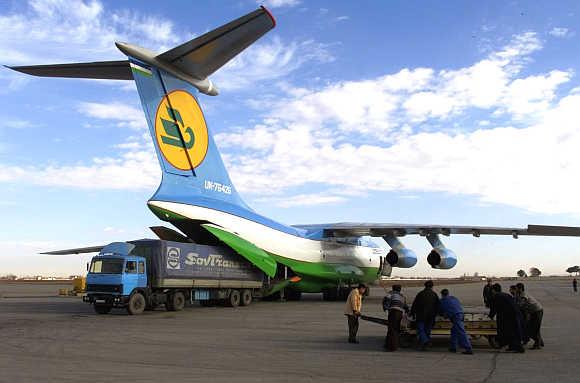 An Uzbekistan Airways plane in Termez, Uzbekistan.