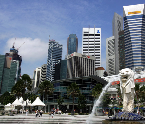 Singapore Merlion is seen in front of the city centre, in Singapore.