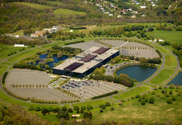 Aerial view of Bell Labs Holmdel Complex. The Bell Labs building in Holmdel is an architectural heirloom, designed by renowned architect Eero Saarinen.