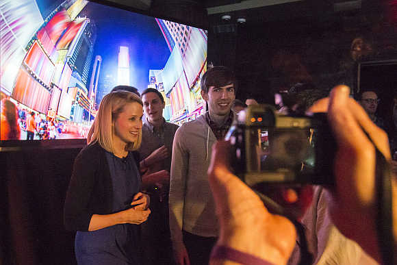Yahoo CEO Marissa Mayer and Tumblr founder and CEO David Karp are photographed after a news conference in New York.