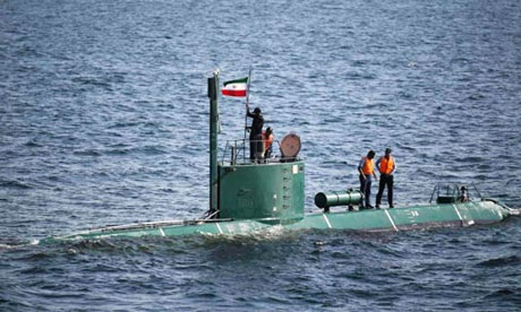 An Iranian submarine in the strait of Hormuz, an important oil supply route to the West.