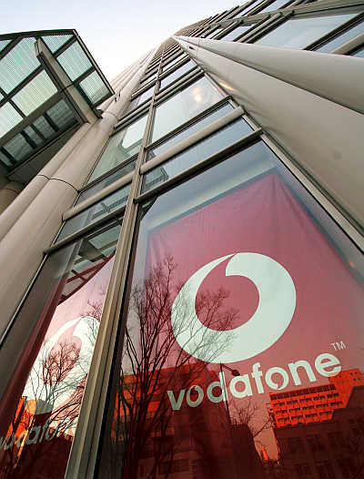 British Vodafone Group's logo at its Japanese unit's headquarters in Tokyo.