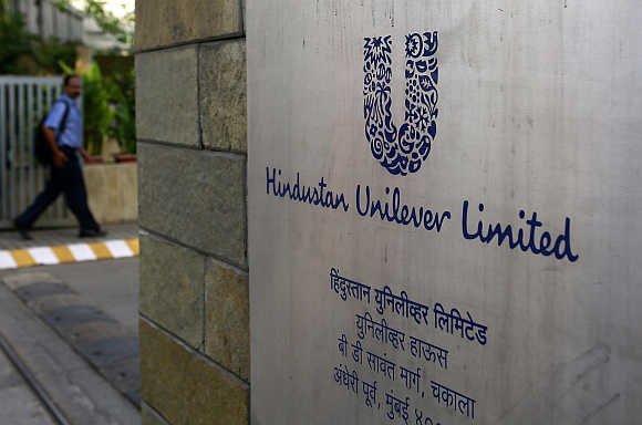 A man arrives at the Hindustan Unilever headquarters in Mumbai.