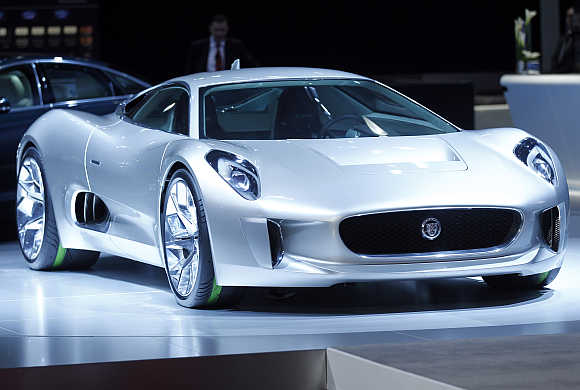 Tata's Jaguar's CX75 electric car is unveiled at the LA Auto Show in Los Angeles, California.