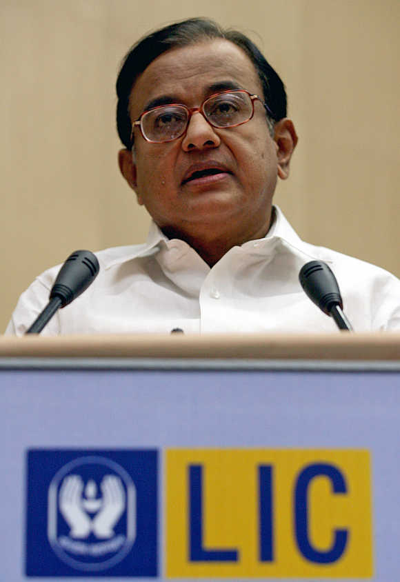 Indian Finance Minister P Chidambaram at a LIC function in New Delhi.