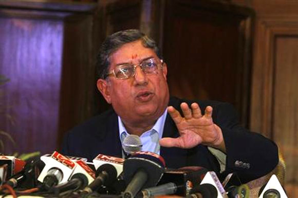 BCCI President N. Srinivasan speaks to the media during a news conference.