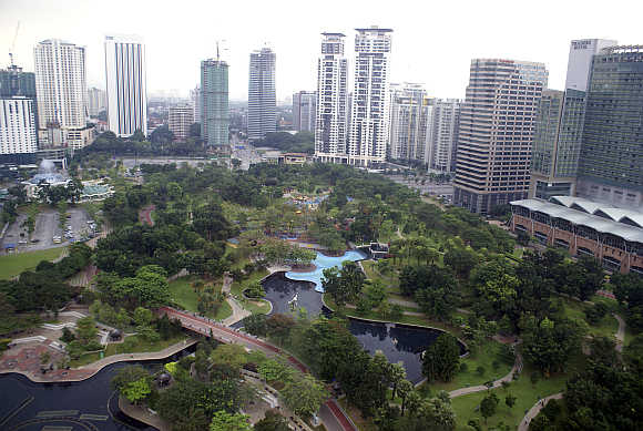 A view of the KLCC Park in central Kuala Lumpur, Malaysia.