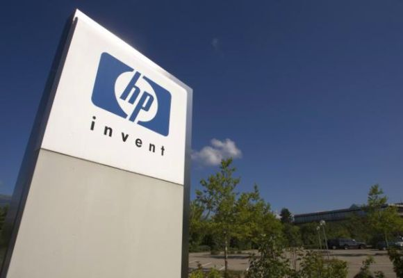 A HP Invent logo is pictured in front of Hewlett-Packard international office.