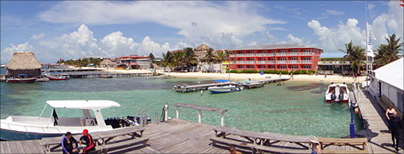 Amigos del Mar diving dock and shop in Ambergris Caye Belize.