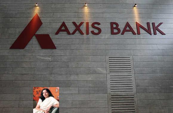 Axis Bank's corporate headquarters in Mumbai. Shikha Sharma, inset.