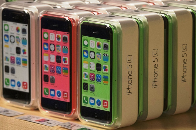 Apple iPhone 5c phones are pictured at the Apple retail store on Fifth Avenue in Manhattan, New York.